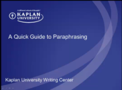 A quick guide to paraphrasing