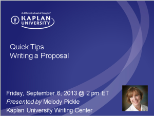 "Title Slide ""Quick Tips: Writing a Proposal"