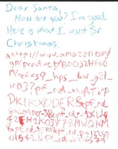 Amazon link on Santa letter
